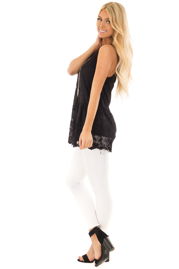 Black Sleeveless Lace Tunic Top side full body