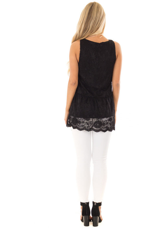 Black Sleeveless Lace Tunic Top back full body