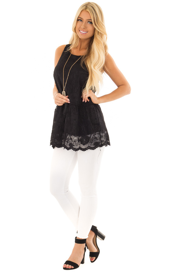 Black Sleeveless Lace Tunic Top front full body