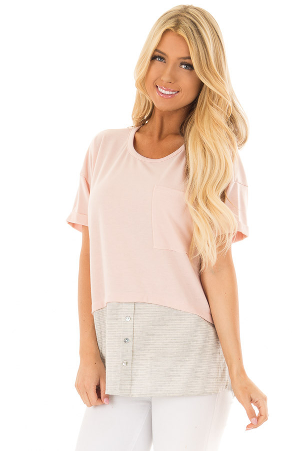 Blush Top with Heather Grey Striped Contrast Hemline front close up