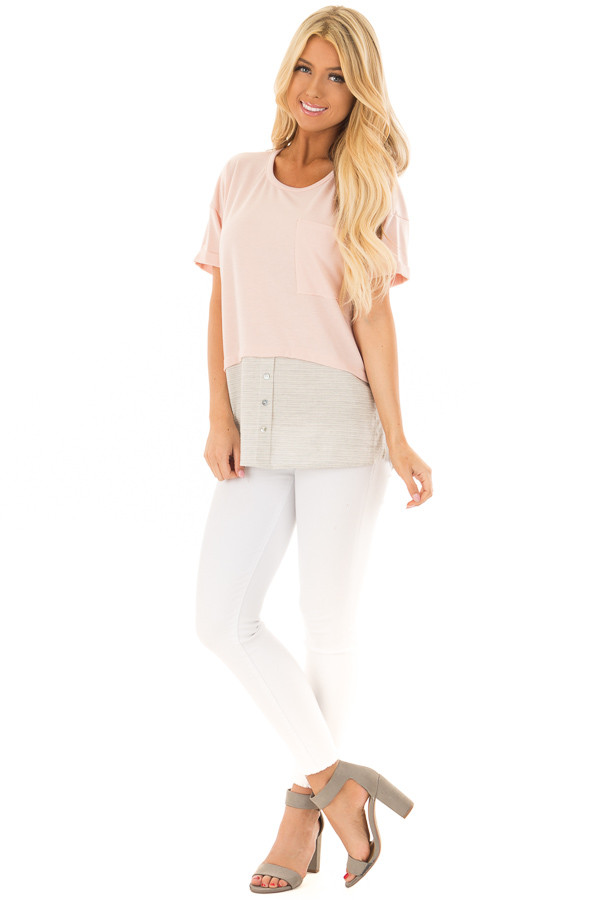 Blush Top with Heather Grey Striped Contrast Hemline front full body