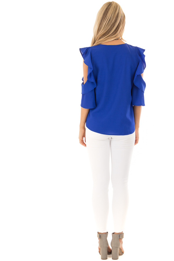 Royal Blue Open Shoulder Top with Ruffle Trim back full body