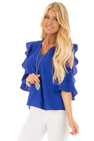 Royal Blue Open Shoulder Top with Ruffle Trim front close up