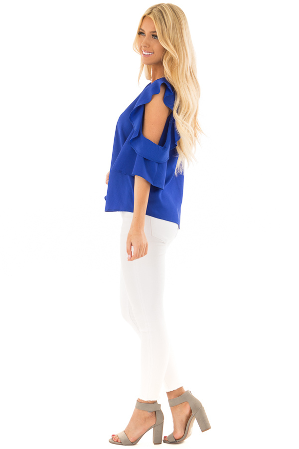 Royal Blue Open Shoulder Top with Ruffle Trim side full body