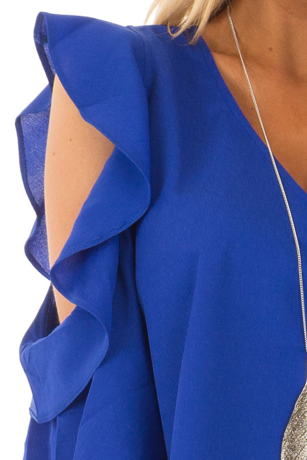 Royal Blue Open Shoulder Top with Ruffle Trim detail