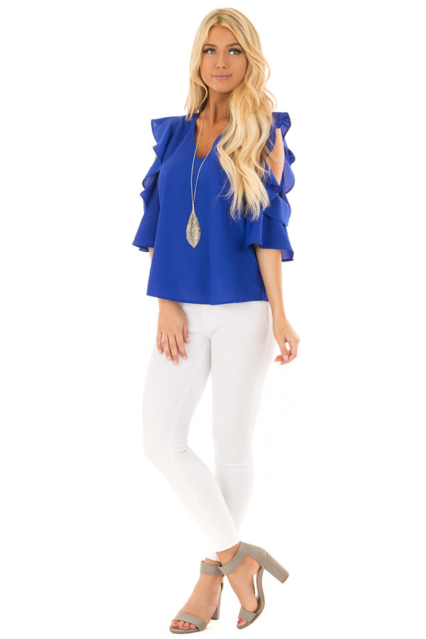 Royal Blue Open Shoulder Top with Ruffle Trim front full body