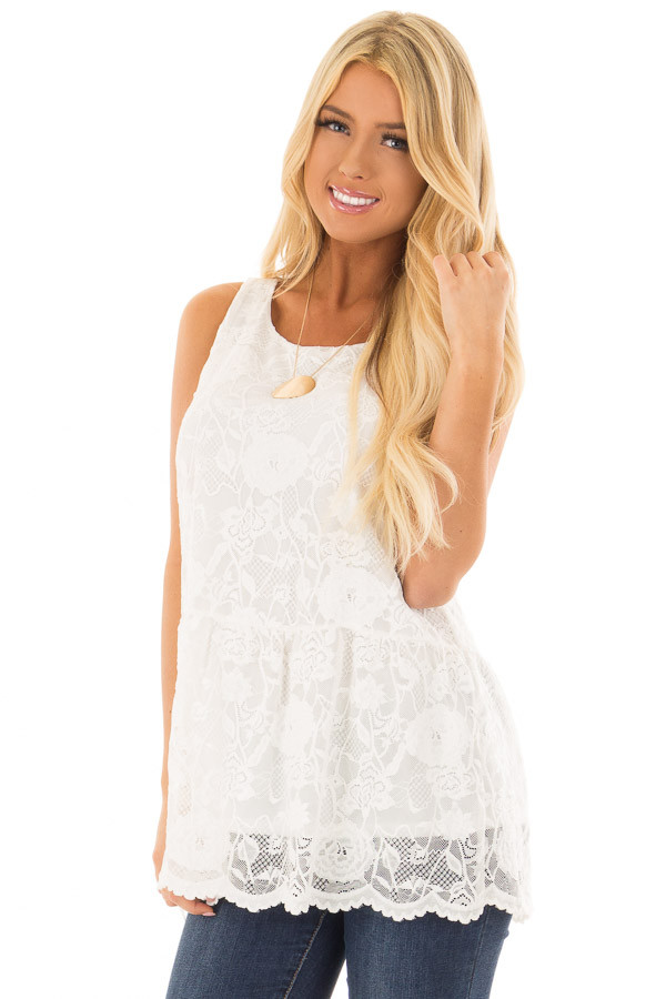 White Sleeveless Lace Tunic Top front close up