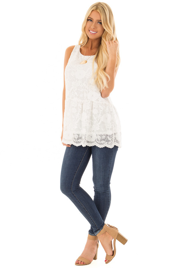 White Sleeveless Lace Tunic Top front full body