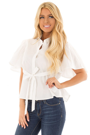 White Button Up Blouse with Open Tie Back front close up