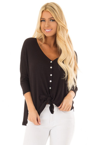 Black Waffle Knit Button Up Top with Front Tie Detail front close up