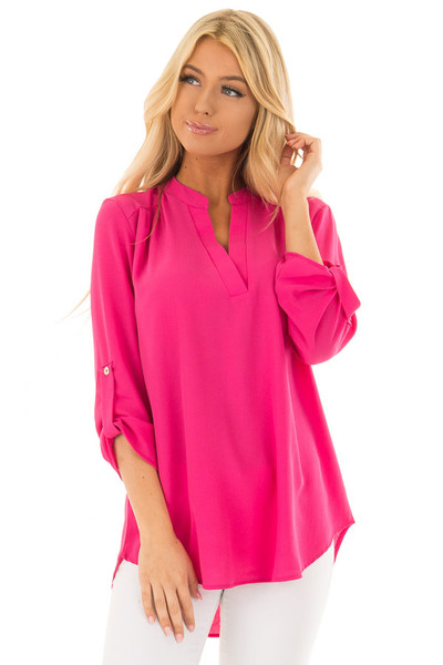 Fuchsia Blouse with Roll Up Sleeve Detail front close up