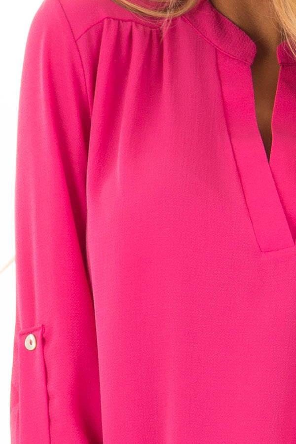Fuchsia Blouse with Roll Up Sleeve Detail detail