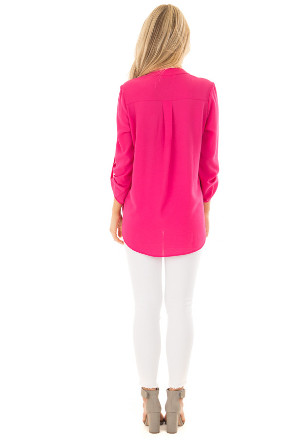 Fuchsia Blouse with Roll Up Sleeve Detail back full body