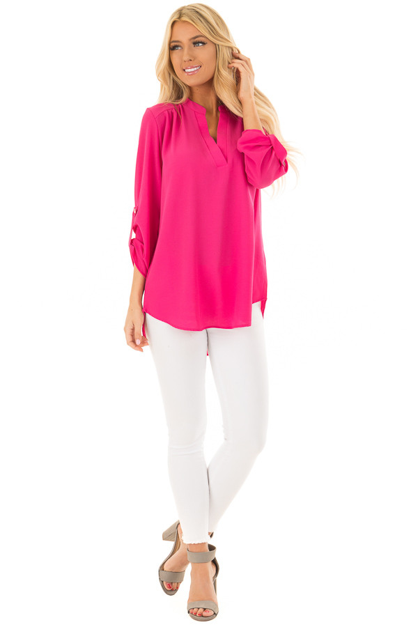 Fuchsia Blouse with Roll Up Sleeve Detail front full body