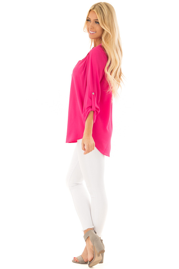 Fuchsia Blouse with Roll Up Sleeve Detail side full body