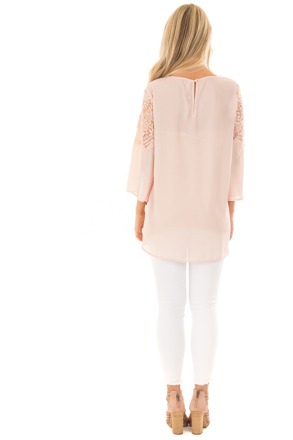 Blush Lace Long Bell Sleeve Blouse with Keyhole Back back full body
