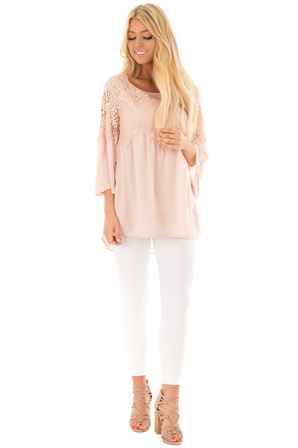 Blush Lace Long Bell Sleeve Blouse with Keyhole Back front full body