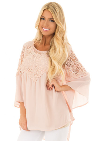 Blush Lace Long Bell Sleeve Blouse with Keyhole Back front close up