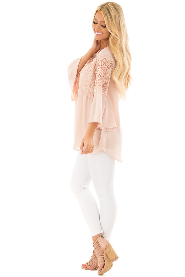 Blush Lace Long Bell Sleeve Blouse with Keyhole Back side full body