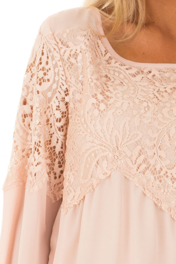 Blush Lace Long Bell Sleeve Blouse with Keyhole Back detail