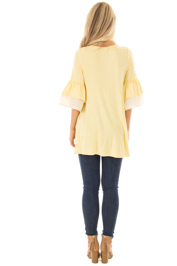 Banana Knit Top with Contrast Ruffle Sleeves back full body