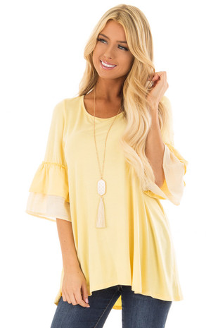 Banana Knit Top with Contrast Ruffle Sleeves front close up