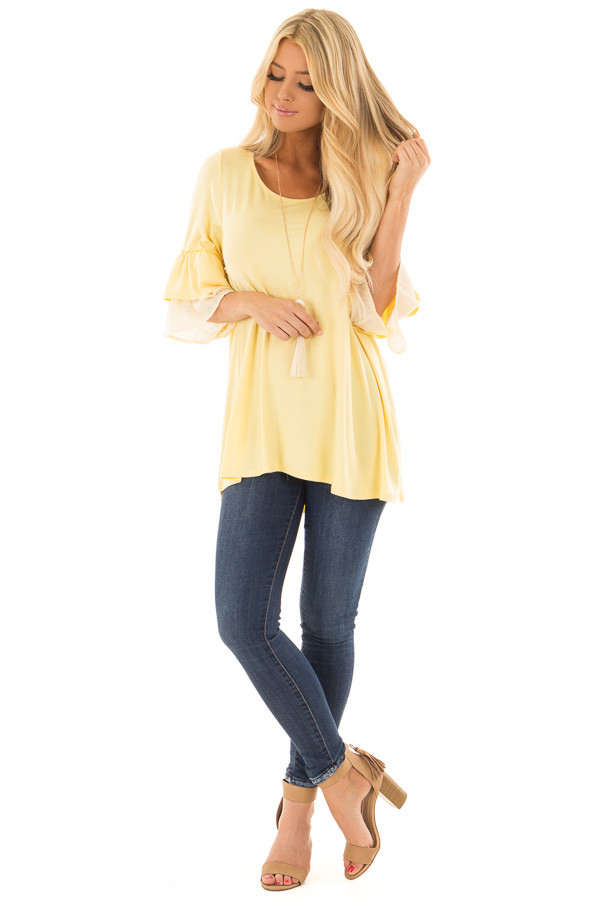 Banana Knit Top with Contrast Ruffle Sleeves front full body
