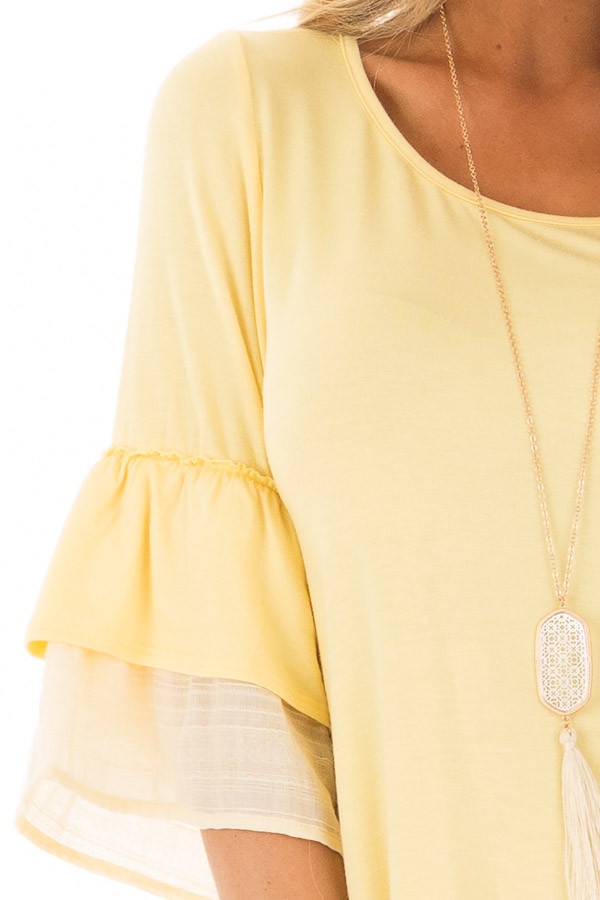 Banana Knit Top with Contrast Ruffle Sleeves detail