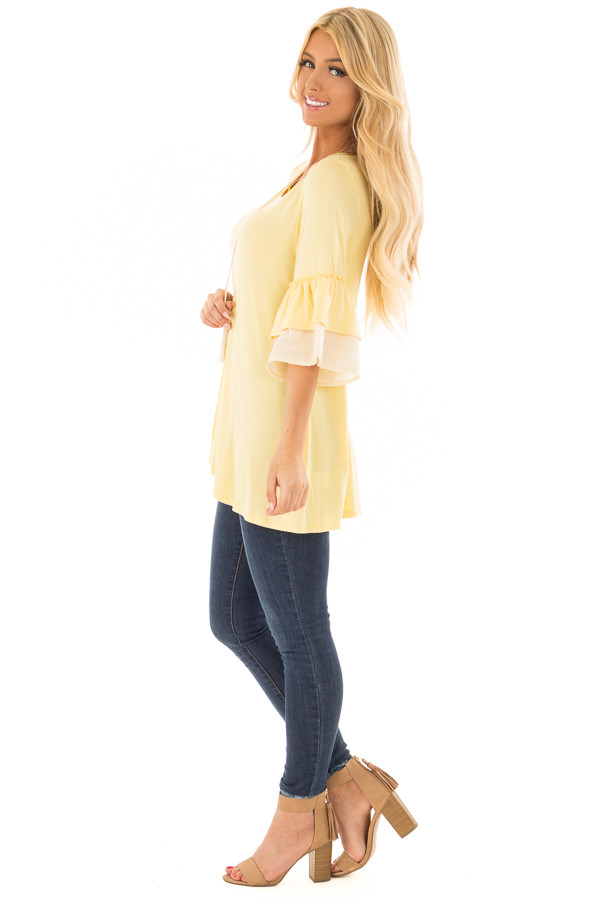 Banana Knit Top with Contrast Ruffle Sleeves side full body