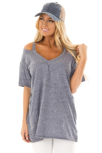 Indigo Blue Two Tone V Neckline Top with Cut Out Detail front close up