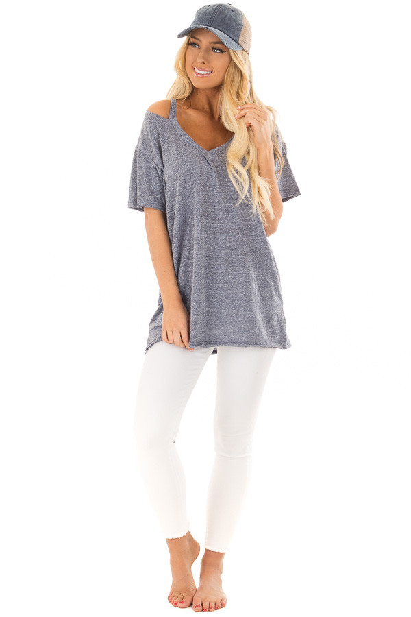 Indigo Blue Two Tone V Neckline Top with Cut Out Detail front full body