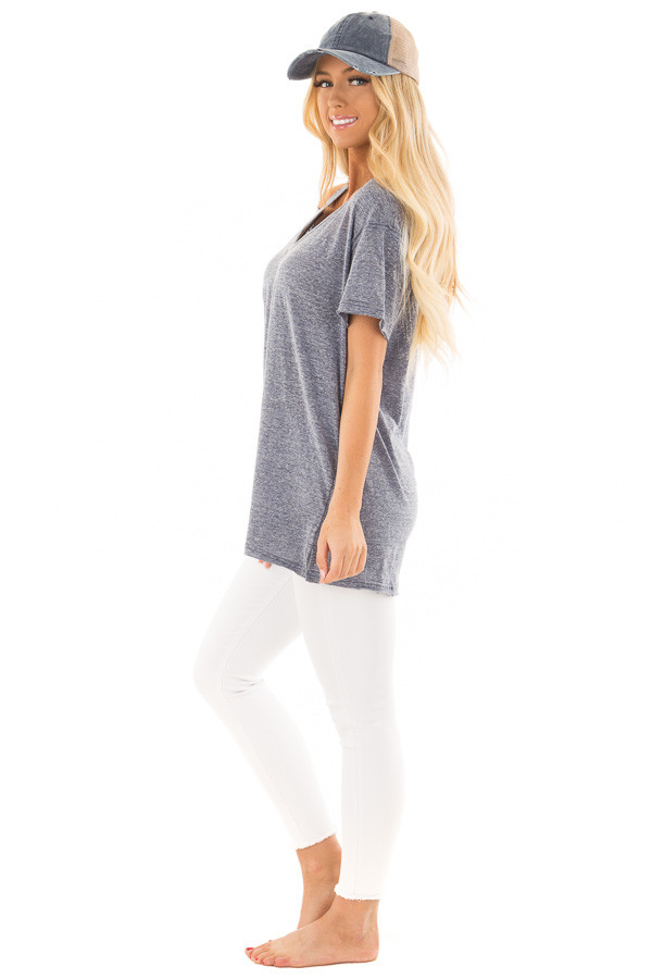 Indigo Blue Two Tone V Neckline Top with Cut Out Detail side full body