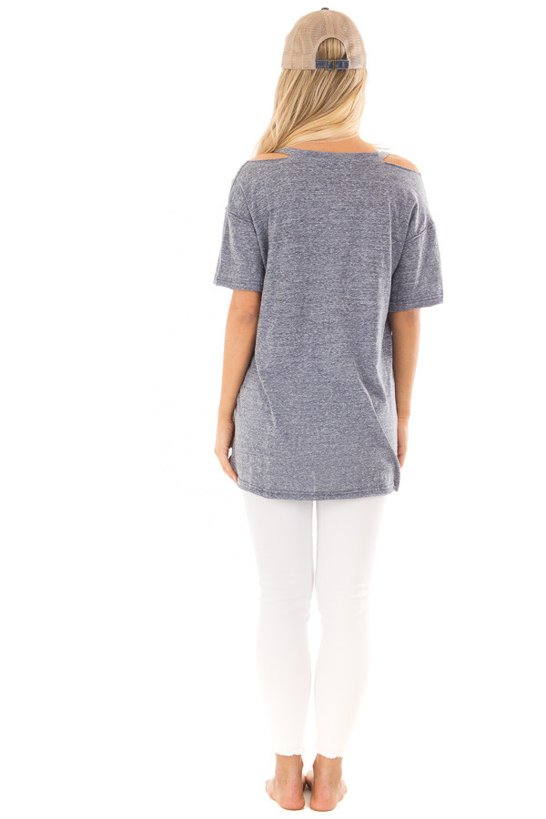 Indigo Blue Two Tone V Neckline Top with Cut Out Detail back full body