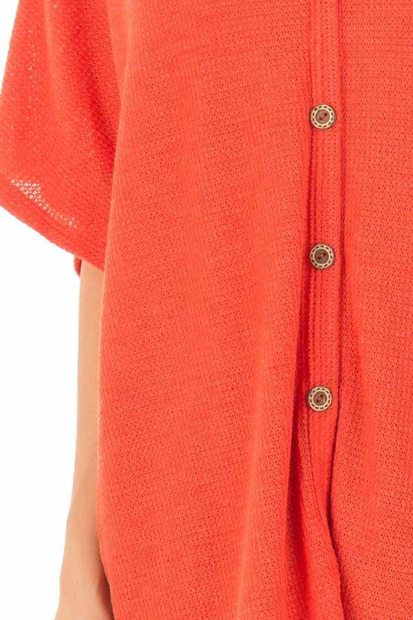 Tomato Red Button Down Short Sleeve Top with Front Tie detail