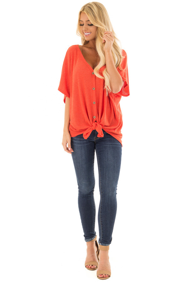 Tomato Red Button Down Short Sleeve Top with Front Tie front full body