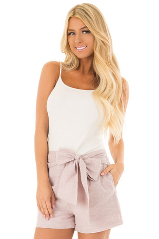 Dusty Rose Wide Band Shorts with Front Tie Detail front close up