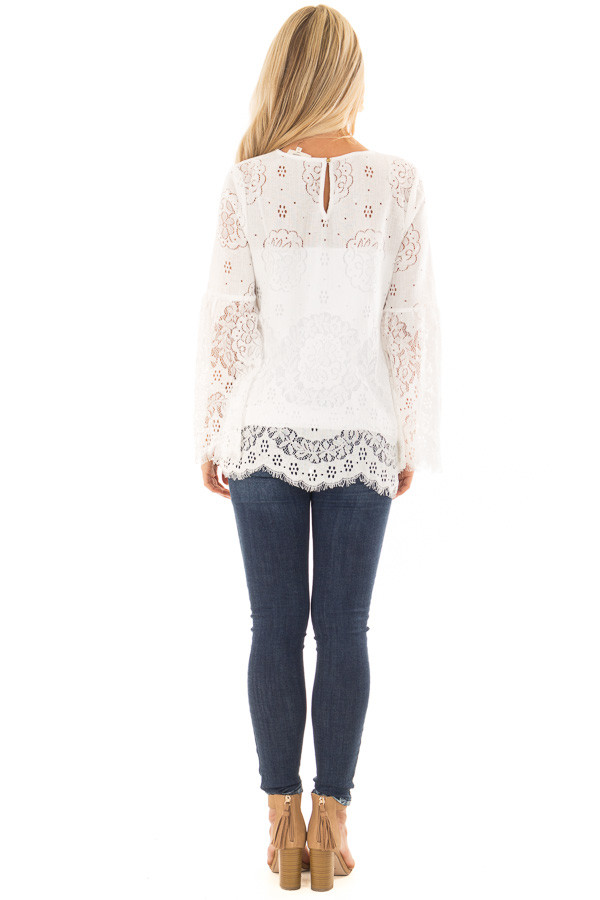 Off White Long Sleeve Sheer Lace Top with Bell Sleeves back full body