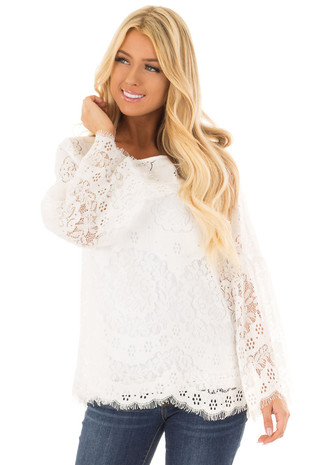 Off White Long Sleeve Sheer Lace Top with Bell Sleeves front close up