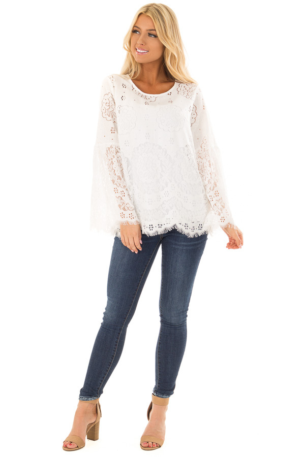 Off White Long Sleeve Sheer Lace Top with Bell Sleeves front full body