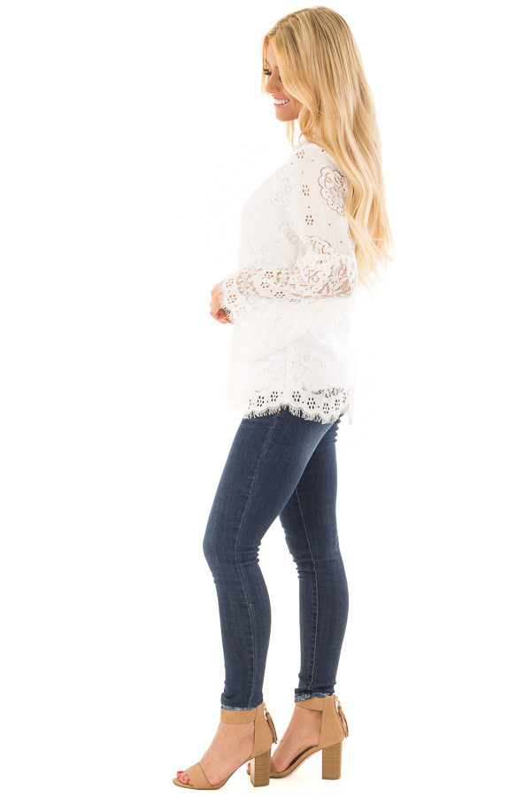 Off White Long Sleeve Sheer Lace Top with Bell Sleeves side full body