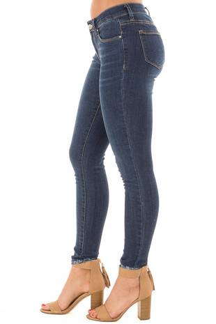 Dark Wash Basic Five Pocket Skinny Ankle Jeans side view