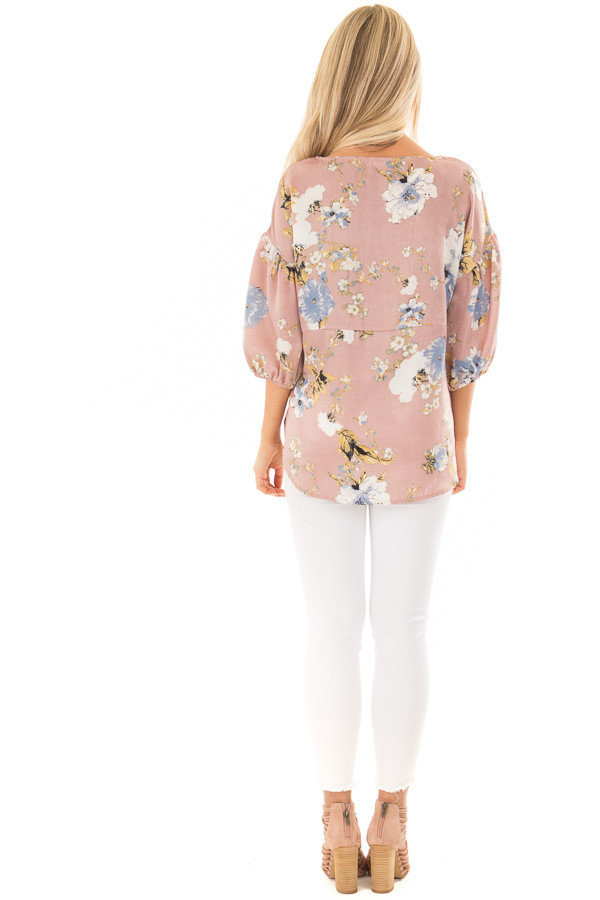 Dusty Pink Floral Balloon Sleeve Blouse with Tie Detail back full body