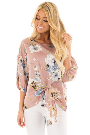 Dusty Pink Floral Balloon Sleeve Blouse with Tie Detail front close up