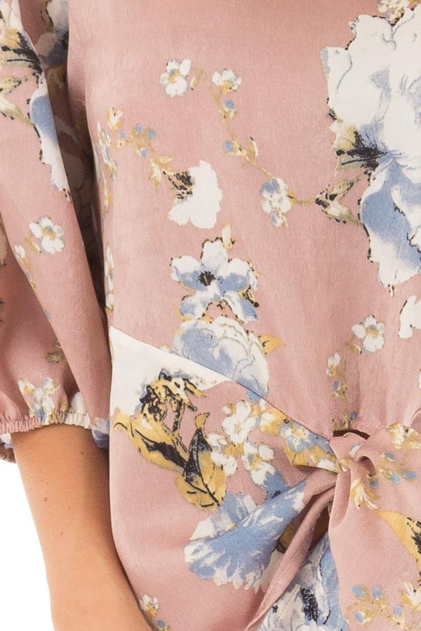 Dusty Pink Floral Balloon Sleeve Blouse with Tie Detail detail