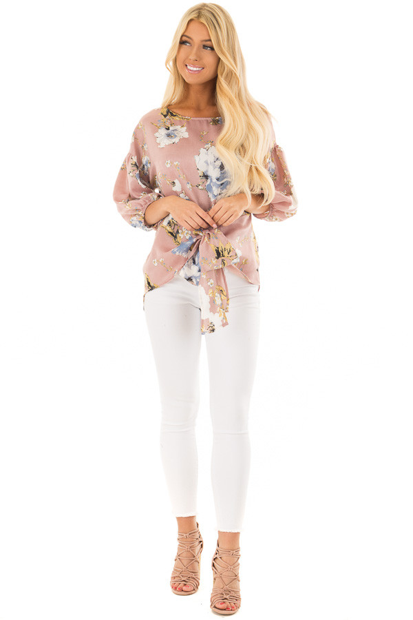 Dusty Pink Floral Balloon Sleeve Blouse with Tie Detail front full body