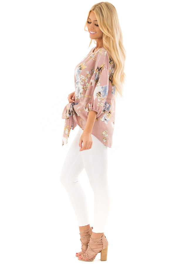 Dusty Pink Floral Balloon Sleeve Blouse with Tie Detail side full body