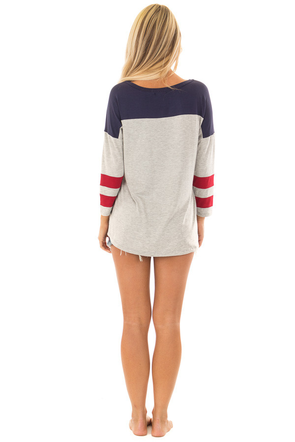 Grey V Neck Varsity Knit Tee with Navy and Ruby Red Detail back full body