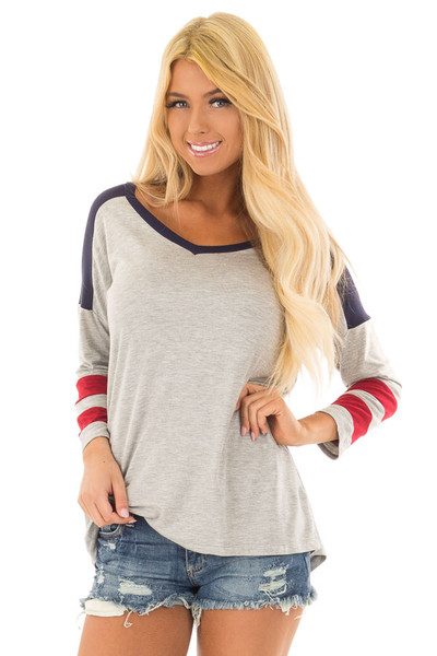 Grey V Neck Varsity Knit Tee with Navy and Ruby Red Detail front close up