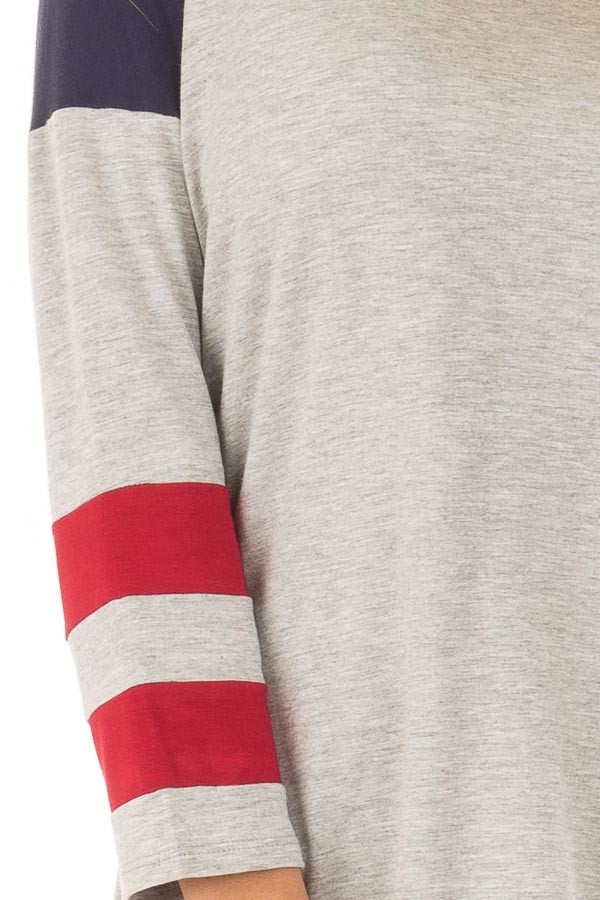 Grey V Neck Varsity Knit Tee with Navy and Ruby Red Detail detail