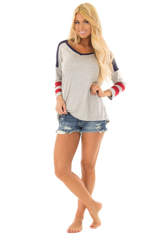 Grey V Neck Varsity Knit Tee with Navy and Ruby Red Detail front full body